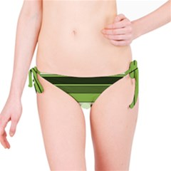 Greenery Stripes Pattern Horizontal Stripe Shades Of Spring Green Bikini Bottom