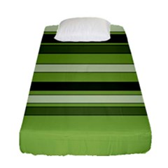 Greenery Stripes Pattern Horizontal Stripe Shades Of Spring Green Fitted Sheet (Single Size)