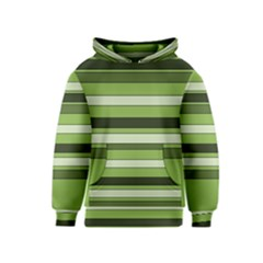 Greenery Stripes Pattern Horizontal Stripe Shades Of Spring Green Kids  Pullover Hoodie