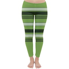 Greenery Stripes Pattern Horizontal Stripe Shades Of Spring Green Classic Winter Leggings