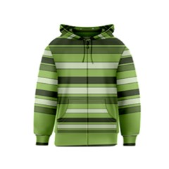Greenery Stripes Pattern Horizontal Stripe Shades Of Spring Green Kids  Zipper Hoodie