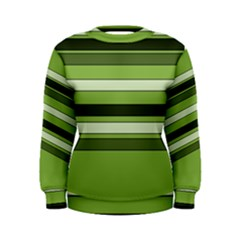 Greenery Stripes Pattern Horizontal Stripe Shades Of Spring Green Women s Sweatshirt