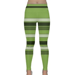 Greenery Stripes Pattern Horizontal Stripe Shades Of Spring Green Classic Yoga Leggings