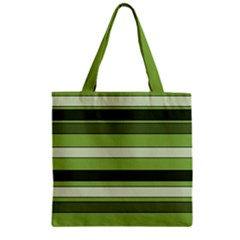 Greenery Stripes Pattern Horizontal Stripe Shades Of Spring Green Zipper Grocery Tote Bag