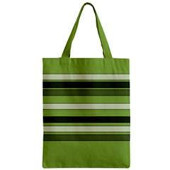 Greenery Stripes Pattern Horizontal Stripe Shades Of Spring Green Zipper Classic Tote Bag
