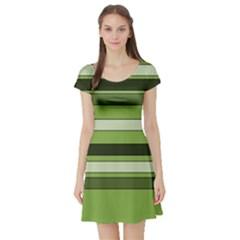 Greenery Stripes Pattern Horizontal Stripe Shades Of Spring Green Short Sleeve Skater Dress