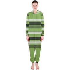 Greenery Stripes Pattern Horizontal Stripe Shades Of Spring Green Hooded Jumpsuit (Ladies)