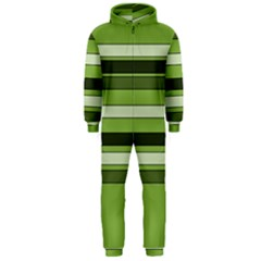 Greenery Stripes Pattern Horizontal Stripe Shades Of Spring Green Hooded Jumpsuit (Men)