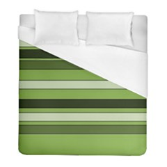 Greenery Stripes Pattern Horizontal Stripe Shades Of Spring Green Duvet Cover (Full/ Double Size)