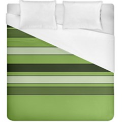 Greenery Stripes Pattern Horizontal Stripe Shades Of Spring Green Duvet Cover (King Size)