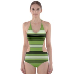Greenery Stripes Pattern Horizontal Stripe Shades Of Spring Green Cut-Out One Piece Swimsuit
