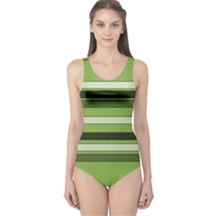 Greenery Stripes Pattern Horizontal Stripe Shades Of Spring Green One Piece Swimsuit