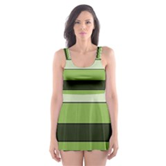 Greenery Stripes Pattern Horizontal Stripe Shades Of Spring Green Skater Dress Swimsuit