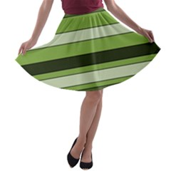 Greenery Stripes Pattern Horizontal Stripe Shades Of Spring Green A-line Skater Skirt