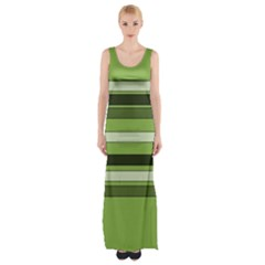 Greenery Stripes Pattern Horizontal Stripe Shades Of Spring Green Maxi Thigh Split Dress