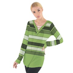 Greenery Stripes Pattern Horizontal Stripe Shades Of Spring Green Women s Tie Up Tee