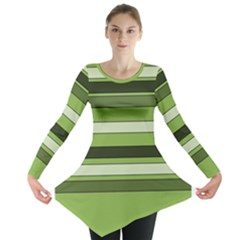 Greenery Stripes Pattern Horizontal Stripe Shades Of Spring Green Long Sleeve Tunic