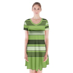 Greenery Stripes Pattern Horizontal Stripe Shades Of Spring Green Short Sleeve V-neck Flare Dress