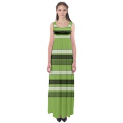 Greenery Stripes Pattern Horizontal Stripe Shades Of Spring Green Empire Waist Maxi Dress