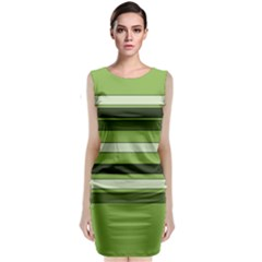 Greenery Stripes Pattern Horizontal Stripe Shades Of Spring Green Classic Sleeveless Midi Dress