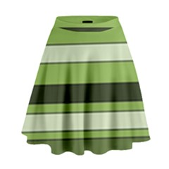 Greenery Stripes Pattern Horizontal Stripe Shades Of Spring Green High Waist Skirt