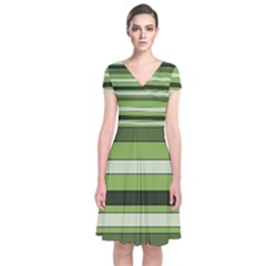 Greenery Stripes Pattern Horizontal Stripe Shades Of Spring Green Short Sleeve Front Wrap Dress