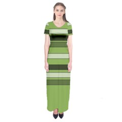 Greenery Stripes Pattern Horizontal Stripe Shades Of Spring Green Short Sleeve Maxi Dress