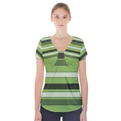 Greenery Stripes Pattern Horizontal Stripe Shades Of Spring Green Short Sleeve Front Detail Top