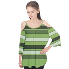 Greenery Stripes Pattern Horizontal Stripe Shades Of Spring Green Flutter Tees