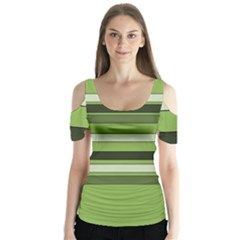Greenery Stripes Pattern Horizontal Stripe Shades Of Spring Green Butterfly Sleeve Cutout Tee