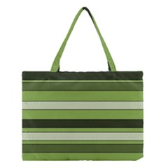 Greenery Stripes Pattern Horizontal Stripe Shades Of Spring Green Medium Tote Bag