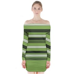Greenery Stripes Pattern Horizontal Stripe Shades Of Spring Green Long Sleeve Off Shoulder Dress