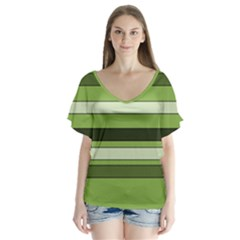 Greenery Stripes Pattern Horizontal Stripe Shades Of Spring Green Flutter Sleeve Top