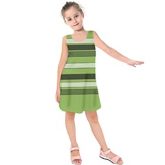 Greenery Stripes Pattern Horizontal Stripe Shades Of Spring Green Kids  Sleeveless Dress