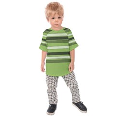 Greenery Stripes Pattern Horizontal Stripe Shades Of Spring Green Kids  Raglan Tee
