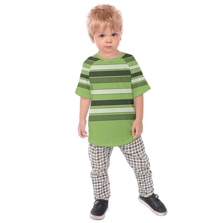 Greenery Stripes Pattern Horizontal Stripe Shades Of Spring Green Kids  Raglan Tee