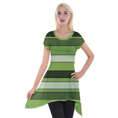 Greenery Stripes Pattern Horizontal Stripe Shades Of Spring Green Short Sleeve Side Drop Tunic