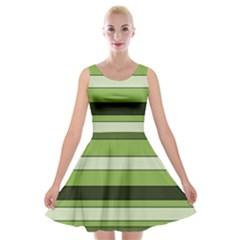 Greenery Stripes Pattern Horizontal Stripe Shades Of Spring Green Velvet Skater Dress