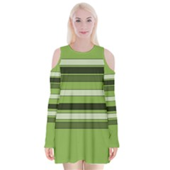 Greenery Stripes Pattern Horizontal Stripe Shades Of Spring Green Velvet Long Sleeve Shoulder Cutout Dress