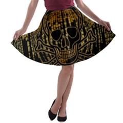 Virus Computer Encryption Trojan A-line Skater Skirt