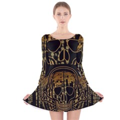 Virus Computer Encryption Trojan Long Sleeve Velvet Skater Dress