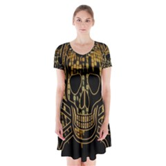Virus Computer Encryption Trojan Short Sleeve V-neck Flare Dress