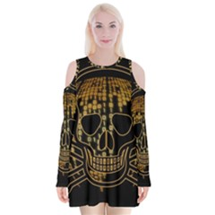 Virus Computer Encryption Trojan Velvet Long Sleeve Shoulder Cutout Dress