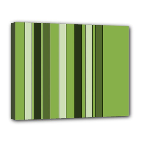 Greenery Stripes Pattern 8000 Vertical Stripe Shades Of Spring Green Color Canvas 14  x 11