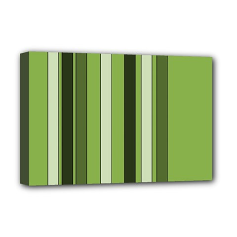 Greenery Stripes Pattern 8000 Vertical Stripe Shades Of Spring Green Color Deluxe Canvas 18  x 12