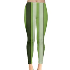 Greenery Stripes Pattern 8000 Vertical Stripe Shades Of Spring Green Color Leggings