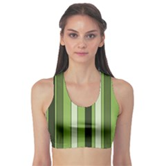 Greenery Stripes Pattern 8000 Vertical Stripe Shades Of Spring Green Color Sports Bra