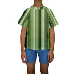 Greenery Stripes Pattern 8000 Vertical Stripe Shades Of Spring Green Color Kids  Short Sleeve Swimwear