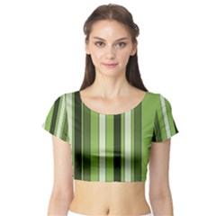 Greenery Stripes Pattern 8000 Vertical Stripe Shades Of Spring Green Color Short Sleeve Crop Top (Tight Fit)