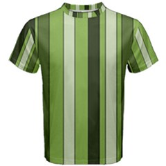 Greenery Stripes Pattern 8000 Vertical Stripe Shades Of Spring Green Color Men s Cotton Tee